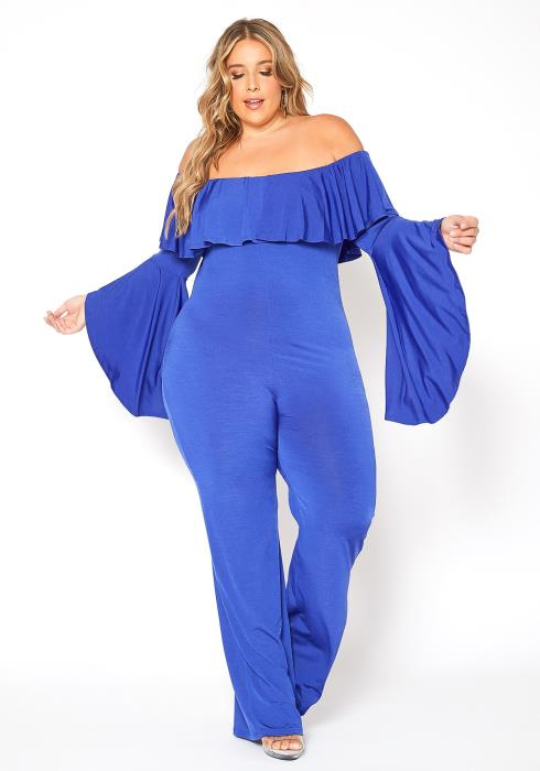 Asoph Plus Size Off Shoulder Butterfly Sleeve Jumpsuit
