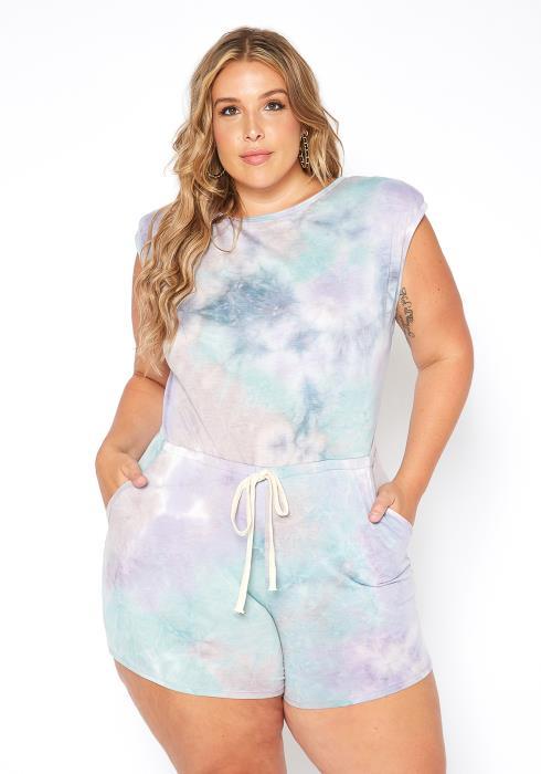 Asoph Plus Size Pastel Tie Dye Drawstring Romper