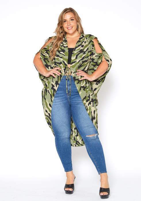 Asoph Plus Size Camo Print Tie Front Cardigan