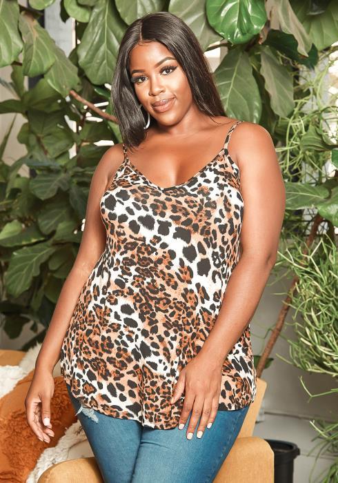 Asoph Plus Size Leopard Print V Neck Cami Top