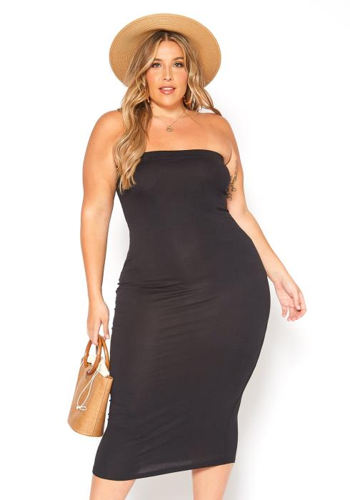 Asoph Plus Size Everyday Basic Bodycon Tube Dress