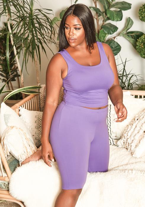 Asoph Plus Size Purple Tank Top & Biker Shorts Set