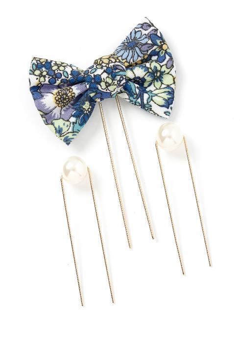 Bexley Vintage Floral U Shape Hair Bow Pin Set