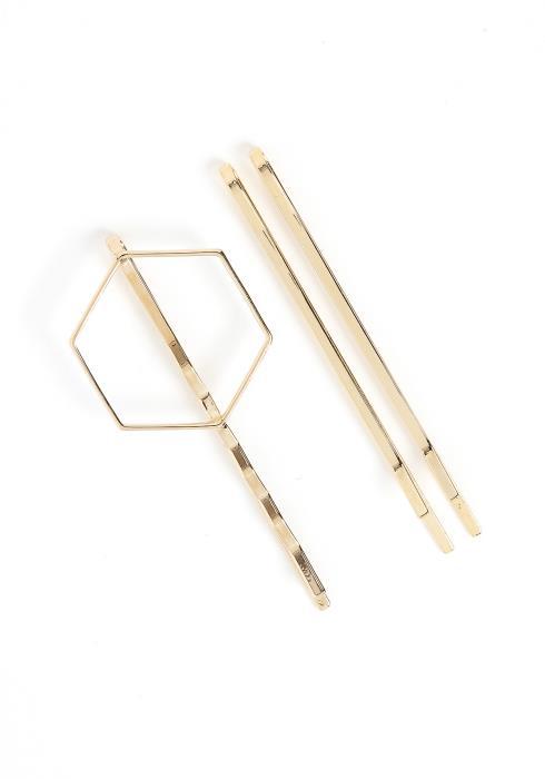 Farren Gold Hexagon Hair Pin Set