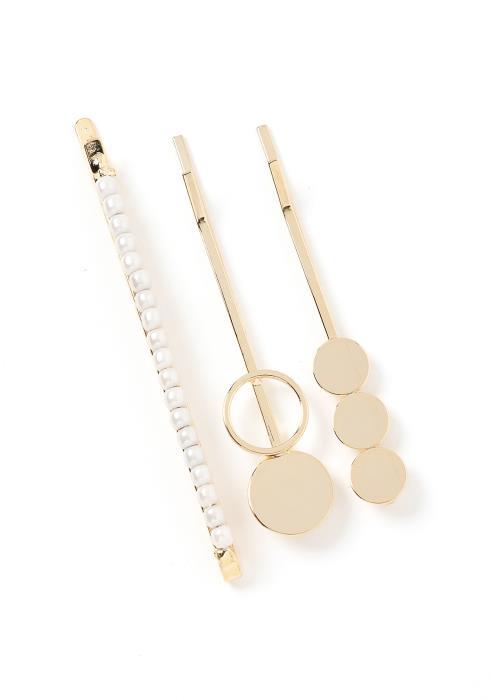 Rowen Gold Circle Shape Hair Pin Set