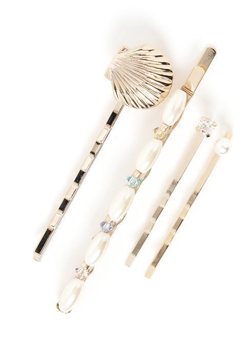 Monica Gold Seashell Hair Pin Set