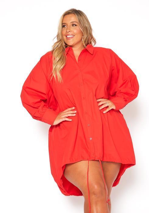 Asoph Plus Size Oversized Button Up Shirt Dress