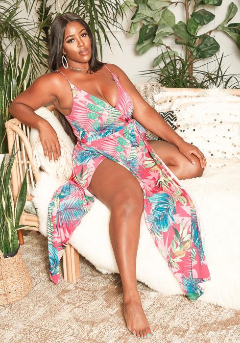 Asoph Plus Size Island Floral Double Slit Hem Maxi Dress