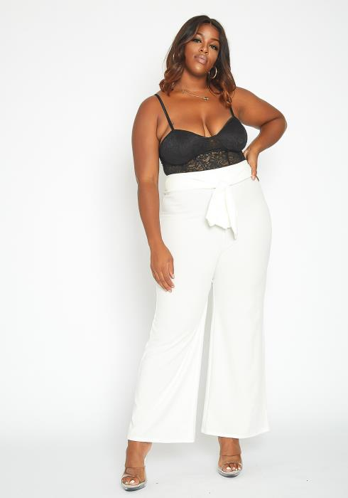Asoph Plus Size High Rise Belted Straight Fit Pants