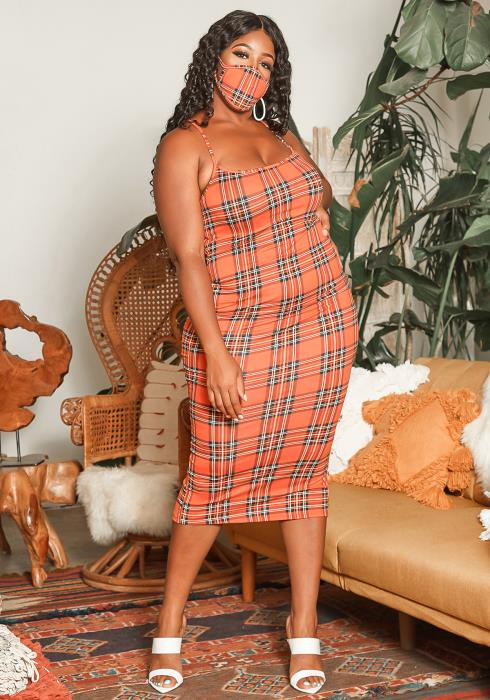 Asoph Plus Size Tartan Plaid Bodycon Cami Dress With Face Mask