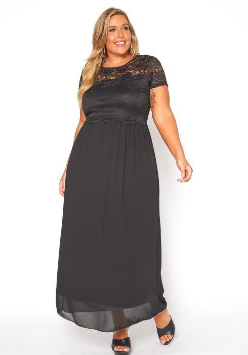 Asoph Plus Size Lace Chiffon Maxi Evening Dress