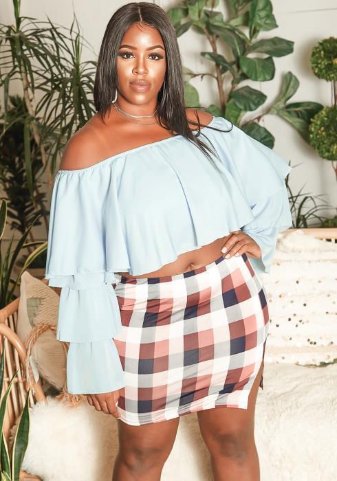 Asoph Plus Size Clueless Plaid Slit Hem Mini Skirt
