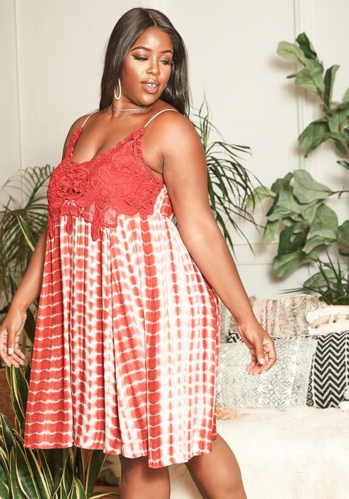 Asoph Plus Size Red Tie Dye Lace Contrast Flare Mini Dress