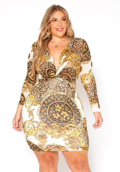 Asoph Plus Size Royal Print Mix Long Sleeve Bodycon Mini Dress