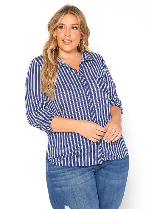Asoph Plus Size Navy Striped Long Sleeve Collar Shirt