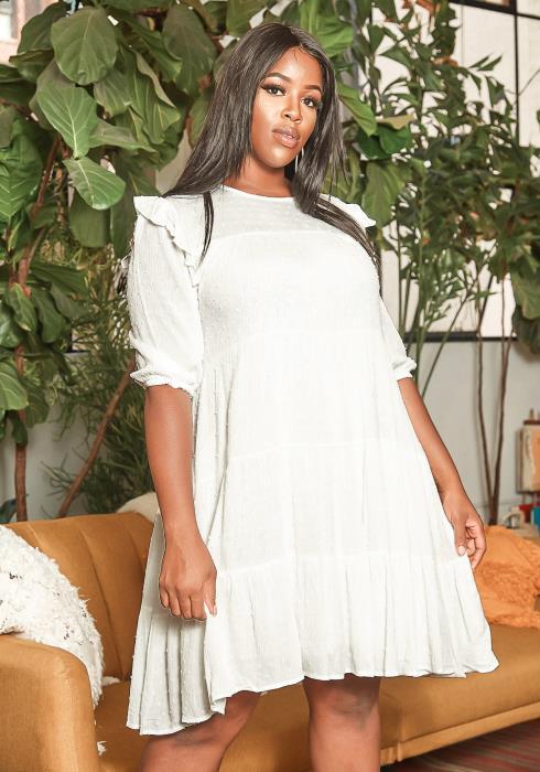 Asoph Plus Size 3D Polka Dot Fit & Flare Mini Dress