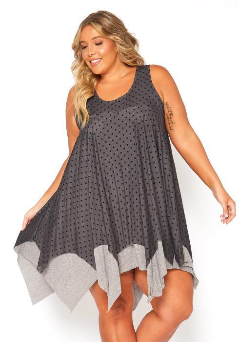 Asoph Plus Size Dotted Sleeveless Tunic Dress