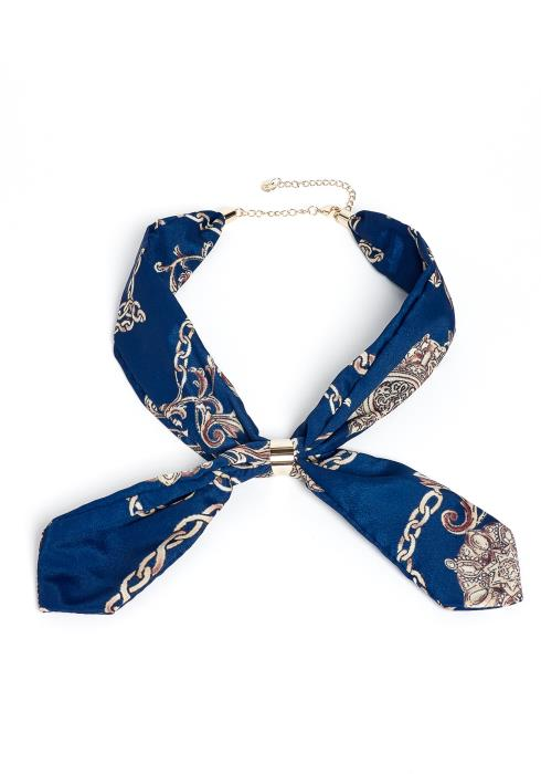 Rayna Royal Print Cuffed Scarf Necklace