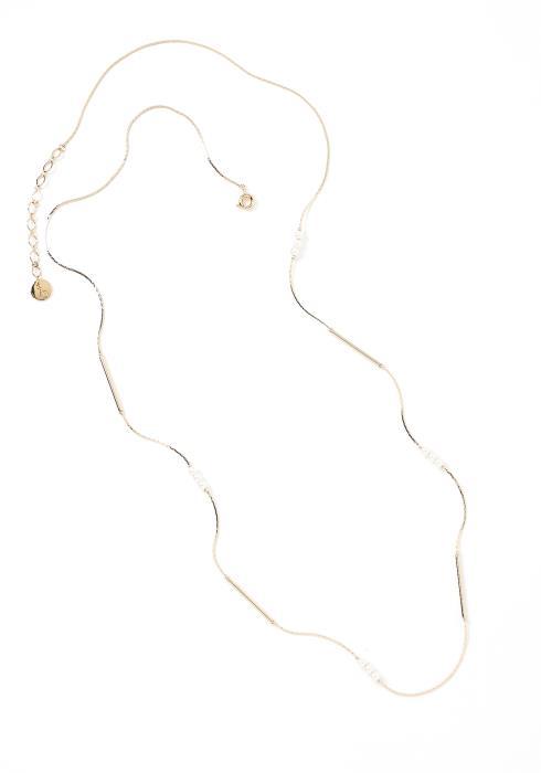 Alora String Thin Metallic Ivory Bead Necklace