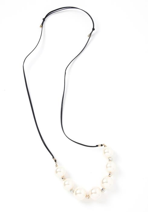Harper Large Pearl Faux Leather Necklace