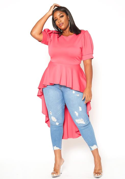 Asoph Plus Size Bow Tie Front High Low Peplum Top