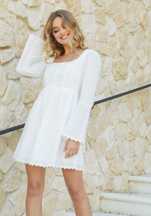 En Creme White Square Neck Fit & Flare Mini Dress