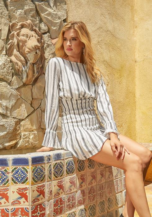 En Creme Multi Striped Smocked Long Sleeve Mini Dress