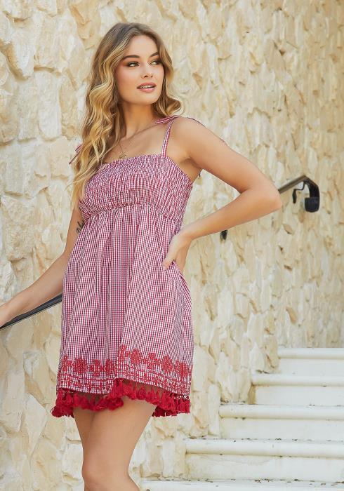 En Creme Gingham Plaid Smocked Contrast Cami Mini Dress