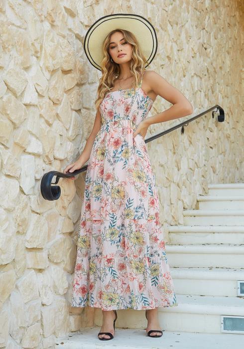 En Creme Pink Floral Print Fit & Flare Cami Maxi Dress