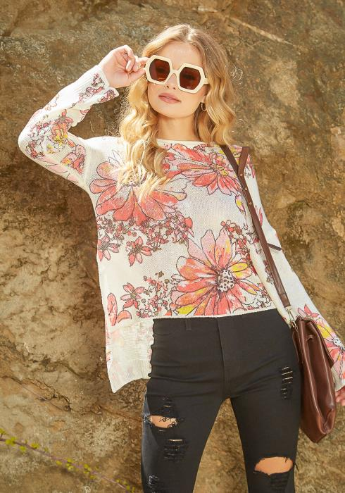 En Creme Floral Art Print High Low Knitted Sweater