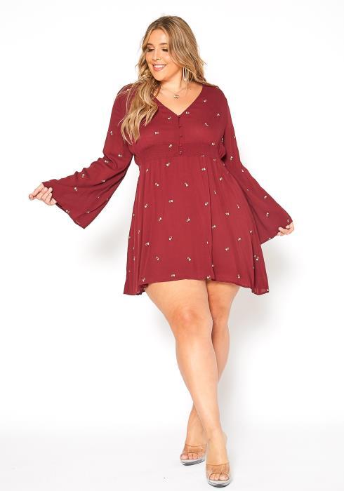 Asoph Plus Size Boho Floral Mini Dress