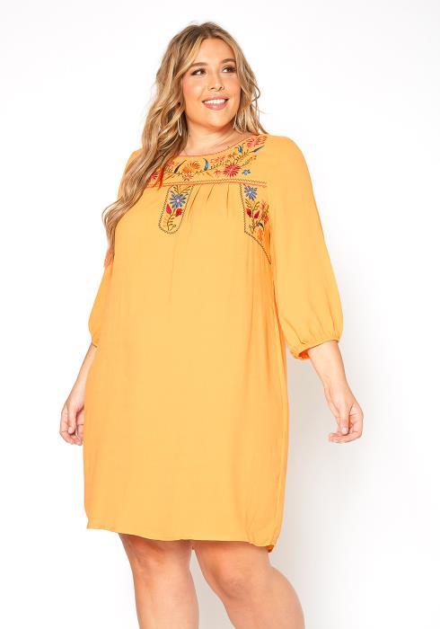 Asoph Plus Size Floral Embroidery Boho Tunic Dress