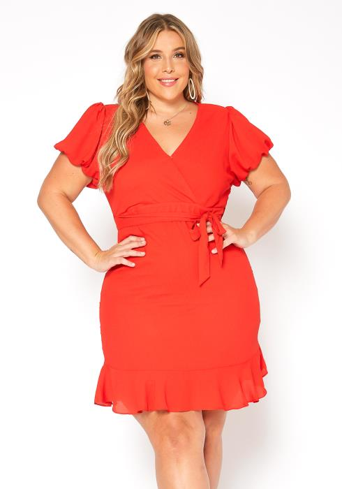 Asoph Plus Size Puffy Sleeve Mini Wrap Dress