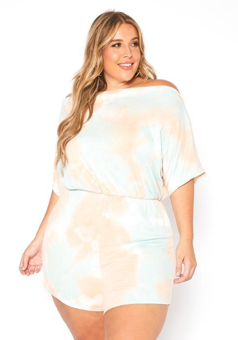 Asoph Plus Size Pastel Tie Dye Off Shoulder Romper