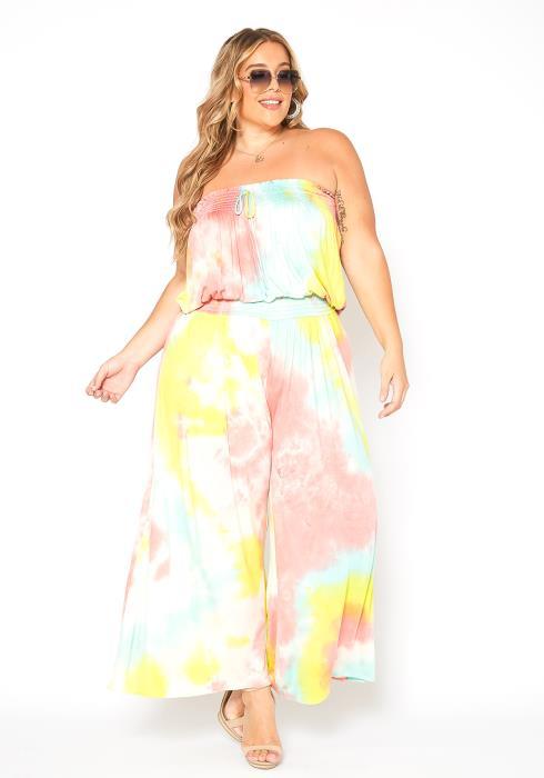 Asoph Plus Size Cotton Candy Tie Dye Jumpsuit