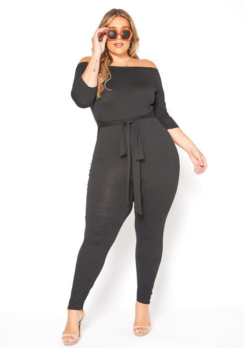 Asoph Plus Size Basic Comfort Off Shoulder Fitted Jumpsuit