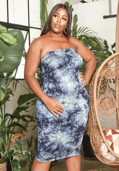 Asoph Plus Size Tube Top Deep Sea Tie Dye Bodycon Dress