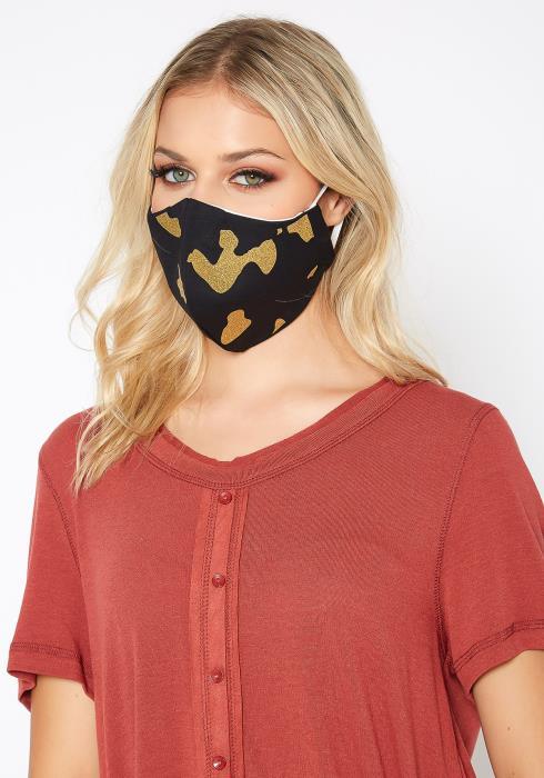 Golden Camo Print Filter Insert Face Mask