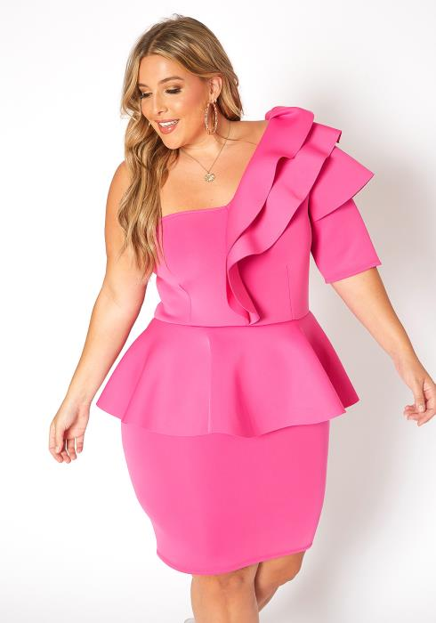 Asoph Plus Size Extravagant One Shoulder Ruffle Tier Mini Dress