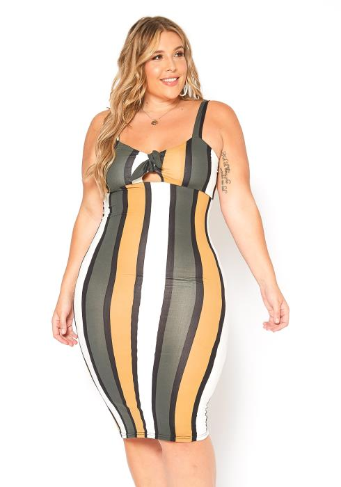 Asoph Plus Size Multi Stripe Bodycon Cami Mini Dress