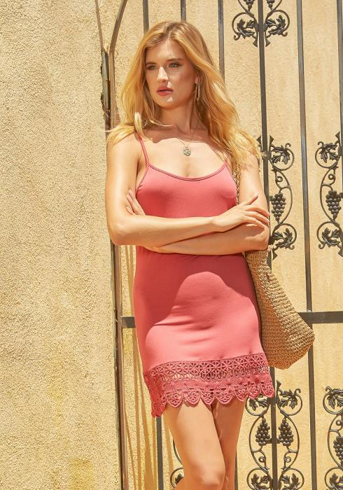 Monoreno Upleveled Basic Crochet Trim Cami Mini Dress