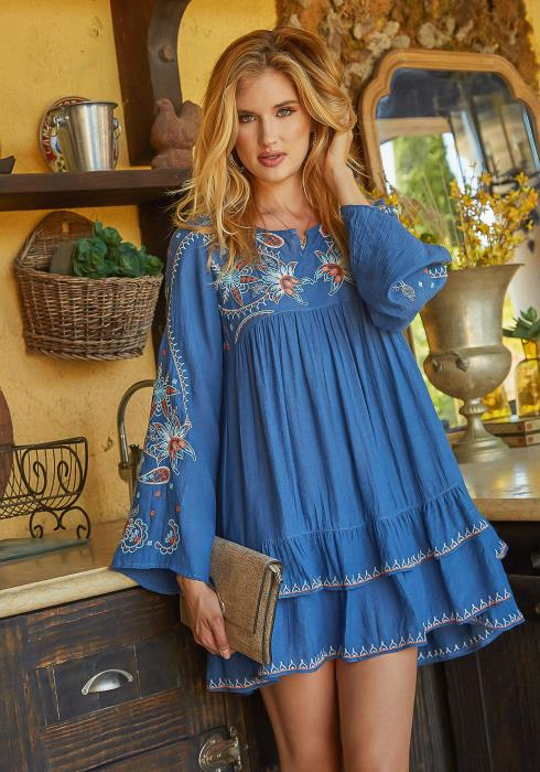Monoreno Boho Art Pattern Tiered Fit & Flare Mini Dress