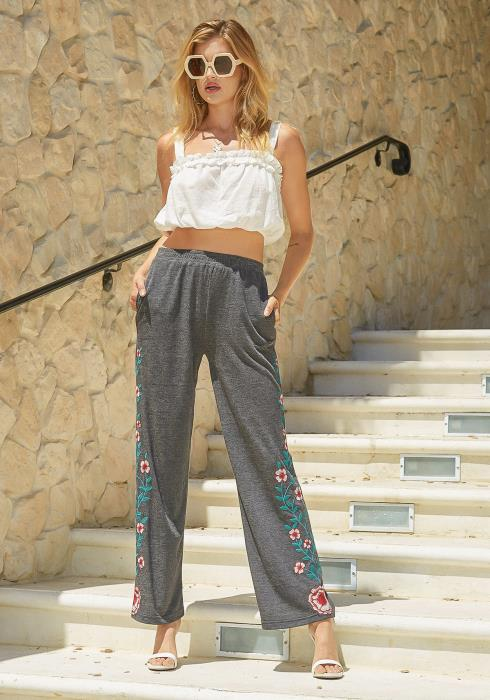 Monoreno Flower Embroidered High Waisted Charcoal Pants