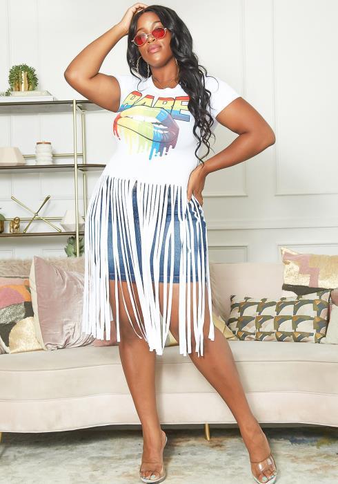 Asoph Plus Size BABE Graphic Design Fringe Cut Tee Shirt
