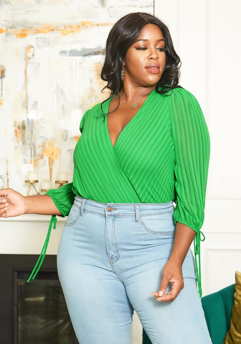 Asoph Plus Size Stripe Wrap Bodysuit Blouse Top
