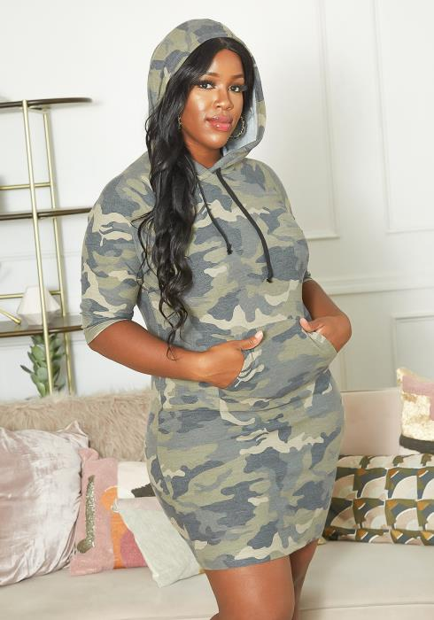 Asoph Plus Size Casual Camouflage Print Hooded Mini Dress