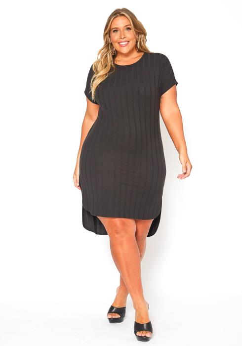 Asoph Plus Size Ribbed Knit Hi Lo Dress