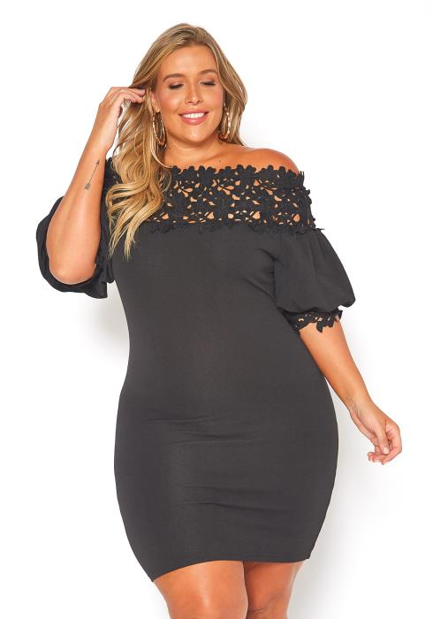 Asoph Plus Size Off Shoulder Crochet Mini Bodycon Dress