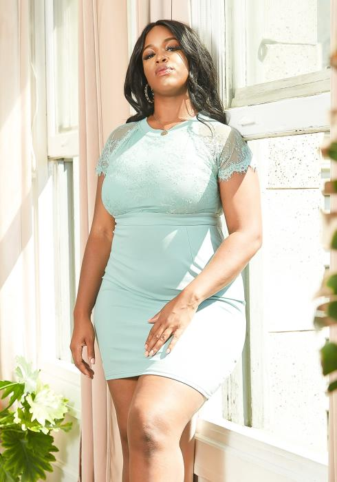 Asoph Plus Size Lace Contrast Mini Bodycon Party Dress