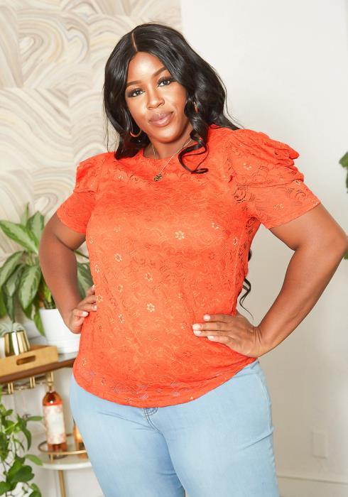 Asoph Plus Size Puffy Shoulder Lace Blouse